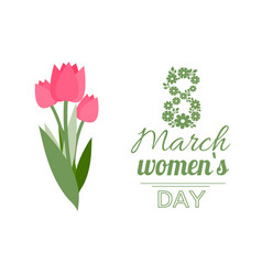 Womens day eight march tulips flower vector