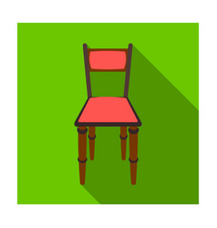 wooden chair icon in flat style isolated on white vector image