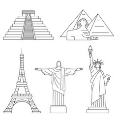 World landmarks eiffel tower statue of liberty vector