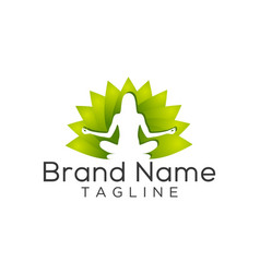 yoga female logo template vector image