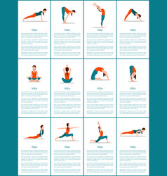 Yoga set of different positions colorful poster vector