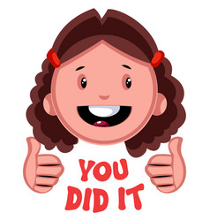 You did it girl emoji on white background vector