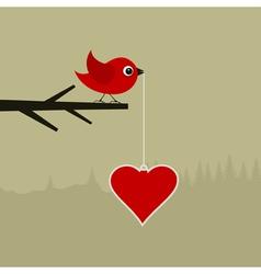 Birdie with heart vector image vector image