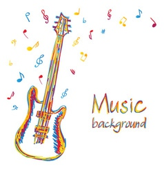 Guitar music background with notes vector image