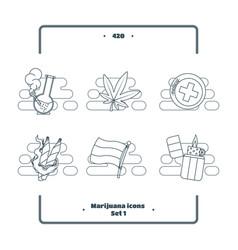 marijuana attributes icons set black one vector image