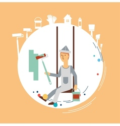 painter paints the wall vector image vector image