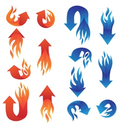 Red and Blue Fire Arrow Collections vector image