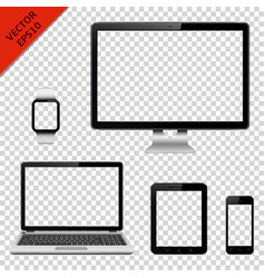 technology devices with transparent screen vector image