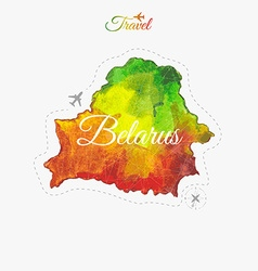 Travel around the world Belarus Watercolor map vector image vector image