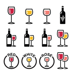 Wine types - red white rose icons set vector image vector image