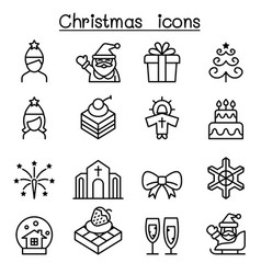 basic christmas icon set in thin line style vector image