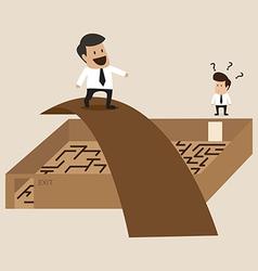 Businessman walks Cross the maze vector image