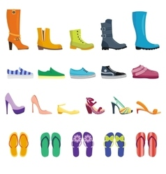 Different shoes isolated collection vector image vector image