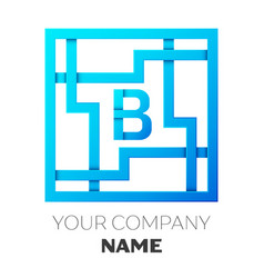 realistic letter b logo in colorful square maze vector image vector image