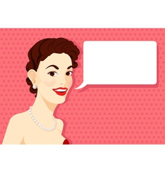 Vintage brunette girl is speaking vector