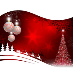 christmas red background with christmas tree and vector image