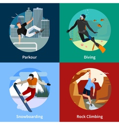 Extreme Sports People 2x2 Icons Set vector image vector image