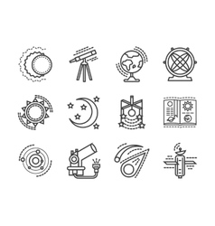 Flat line space research icons vector image