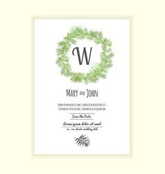 Greenery wedding invitation card vector