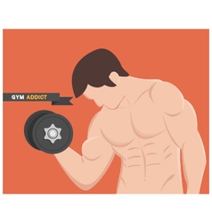 Gym addict fitness muscular man vector