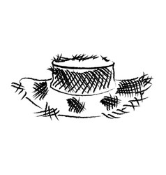 monochrome blurred silhouette of old straw hat vector image