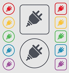 plug icon sign symbol on the Round and square vector image