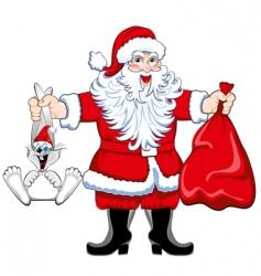 Santa and rabbit vector image