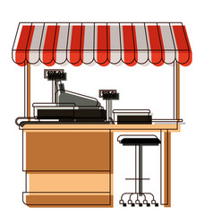 supermarket shelf with weighing machine and cash vector image