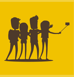 silhouettes of young modern people pose for selfie vector image