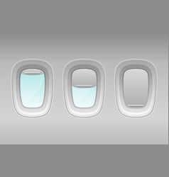 3d realistic three white plastic portholes vector image