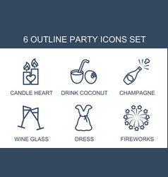 6 party icons vector image