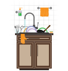 A mountain dirty unwashed dishes in sink in vector