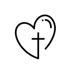 abstract religious cross and heart icon christian vector image