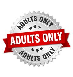 Adults only round isolated silver badge vector