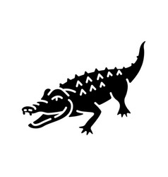 Alligator black glyph icon vector
