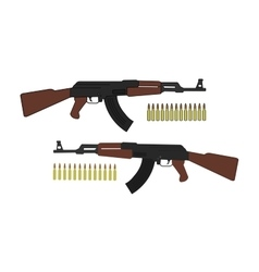 Assault rifle with bullets vector