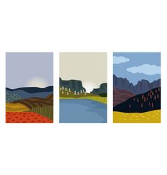 Autumn landscapes cards vector