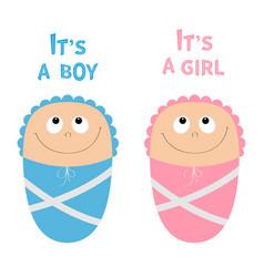 bashower card its a boy girl cute cartoon vector image