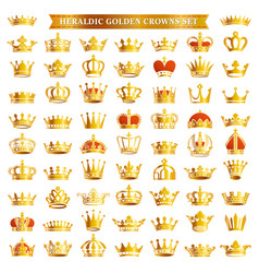big set golden crown icons vector image