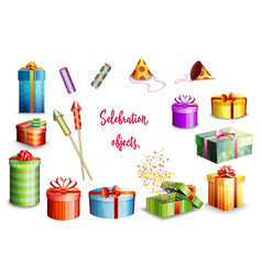 big set of gift boxes of different design and vector image