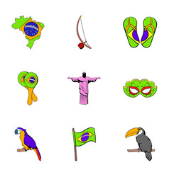 brasilia icons set cartoon style vector image