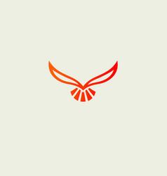 Bright logo icon red phoenix bird in flight for vector