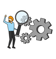 Businessman with loupe and gears vector