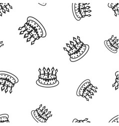 Cake with candle seamless pattern background vector