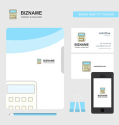 calculator business logo file cover visiting card vector image