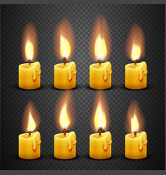 candle with fire animation on transparent vector image