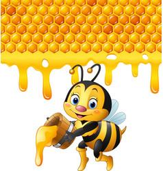 Cartoon bee holding bucket with honeycomb vector