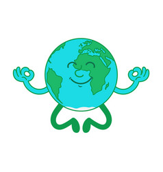 Cartoon character earth in lotus position vector