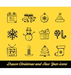 Christmas Drawn set vector image