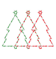 Christmas tree candy cane frame border set vector
